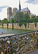 Lock Greeting Cards Posters - Love Locks Over the Seine Poster by John Malone