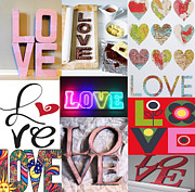 Michael Mixed Media Posters - Love Love Love Collage Poster by Michael Knight