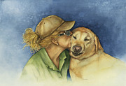 Kisses Paintings - Love me love my dog by Nan Wright