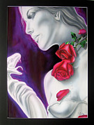 Black And White Roses Painting Originals - Love by Mike Suttles