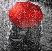 Rain Metal Prints - Love Metal Print by Mo T
