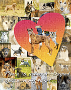 Boxer Dog Digital Art Posters - Love of Boxers Poster by Judy Wood
