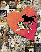 Dogs Digital Art Metal Prints - Love of Dogs--general version Metal Print by Judy Wood