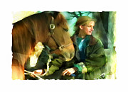 People Mixed Media Prints - Love Of Horses Print by Bob Salo