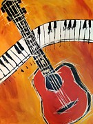 Guitar Painting Originals - Love of Music by Roberta Simmons