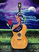 Guitar Art Prints Prints - Love Of Music Print by Terry Kelly