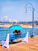 Santa Monica Digital Art Metal Prints - Love on SM Pier Metal Print by Jennie Breeze