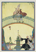 Male Framed Prints - Love on the Bridge Framed Print by Georges Barbier