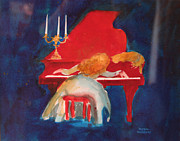 Cats Painting Prints - Love on the Red Piano Print by Eve Riser Roberts