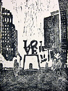 Linocut Painting Posters - Love Park in Black and White Poster by Marita McVeigh