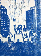 Philly Painting Posters - Love Park In Blue Poster by Marita McVeigh