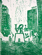 Linocut Painting Posters - Love Park In Green Poster by Marita McVeigh