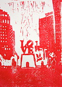 Linocut Painting Posters - Love Park In Red Poster by Marita McVeigh