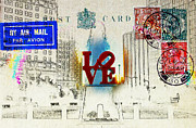 """love Park""  Framed Prints - Love Park Post Card Framed Print by Bill Cannon"