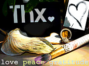 Inspirational Mixed Media - Love Peace Gratitude by AdSpice Studios