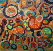 Symbols Painting Originals - Love Peace Happiness by Tonya Henderson Rollyson