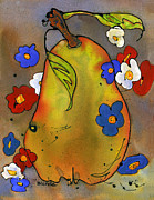 Pear Art Painting Framed Prints - Love Pear  Framed Print by Blenda Studio