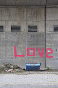 Painted Walls Prints - Love - pink painting on grey wall Print by Matthias Hauser