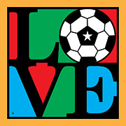Modern Pop Art Posters - Love Soccer Poster by Gary Grayson