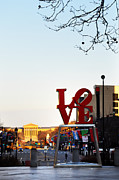 Love Statue Prints - Love Statue and the Art Museum Print by Bill Cannon