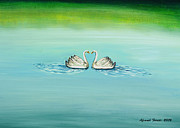 Swans... Paintings - Love Swans by Afsaneh Faridi