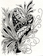 Tangle Drawings - Love Tangled Up by Meldra Driscoll