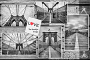 Black And White Prints Prints - Love the Brooklyn Bridge Print by John Farnan