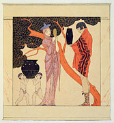 Greek Framed Prints - Love Token Framed Print by Georges Barbier