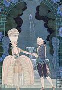 Affection Painting Prints - Love under the Fountain Print by Georges Barbier
