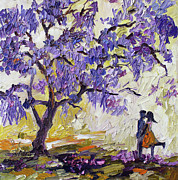 South Africa Painting Prints - Love Under The Jacaranda Tree Print by Ginette Callaway