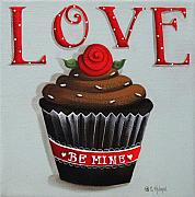 Primitive Folk Art Prints - Love Valentine Cupcake Print by Catherine Holman