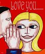 Cute Mixed Media Framed Prints - Love You 2 Framed Print by Patrick J Murphy