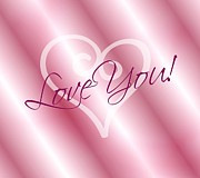 Hearts Digital Art - Love You Card by Cathie Tyler