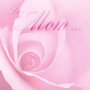 Love You Mom Pink Rose Print by Natalie Kinnear