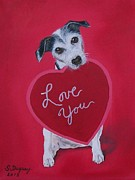Looking At Camera Paintings - Love You by Sharon Duguay