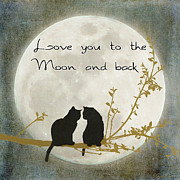 Black Cats Prints - Love you to the moon and back Print by Linda Lees