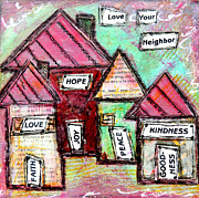 Bible Verse Prints - Love your Neighbor Print by Lauretta Curtis