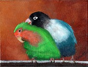 Cage Paintings - Lovebird Love by Deborah Naves