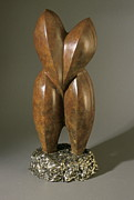 Sculpt Sculpture Prints - Lovebirds - bronze  Print by Manuel Abascal