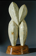 Alabaster Sculpture Framed Prints - Lovebirds - stone Framed Print by Manuel Abascal