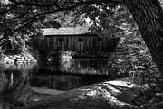 Wood Bridges Metal Prints - Lovejoy Covered Bridge 2bw Metal Print by Mel Steinhauer