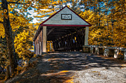 Autumn Woods Posters - Lovejoy Covered Bridge Poster by Bob Orsillo