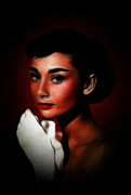 Audrey Hepburn Paintings - Lovely Audrey by Stefan Kuhn