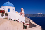 Typical Framed Prints - Lovely church in Santorini Framed Print by Aiolos Greek Collections