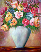 Roses Poppies Paintings - Lovely flowers by Helena Kruger