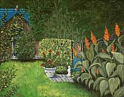 Garden Scene Drawings Metal Prints - Lovely Green Metal Print by Anastasiya Malakhova