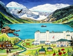 Ann Painting Prints - Lovely Lake Louise Print by Virginia Ann Hemingson