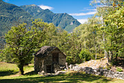 Old Stone House Photos - Lovely old stone house in beautiful landscape Ticino Switzerland by Matthias Hauser