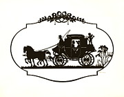 Carriages Posters - Lovers Carriage Silhouette 1880 Poster by Padre Art