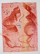 Mixed Media Calligraphic Collage Posters - Lovers Dancing Poster by Asha Carolyn Young